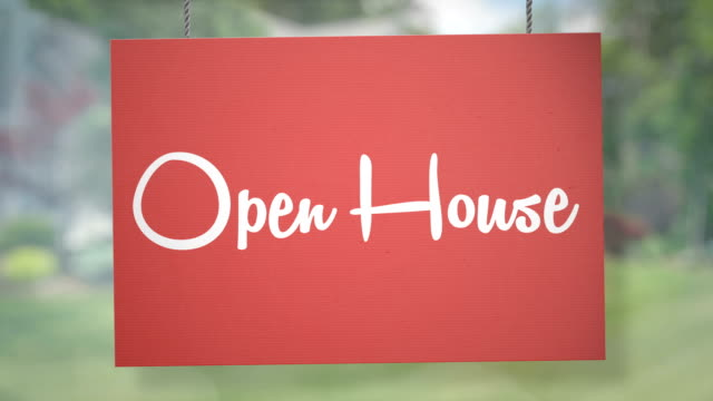 open house sign hanging from ropes. luma matte included so you can put your own background. - banner sign stock videos & royalty-free footage