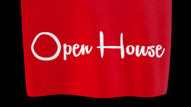 open house unfolding cloth sign. alpha channel will be included when downloading the 4k apple prores 4444 file only - banner sign stock videos & royalty-free footage
