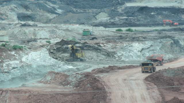 open lignite mine. - dumper truck stock videos & royalty-free footage