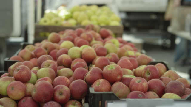 open market - apples in crates - crate stock videos & royalty-free footage