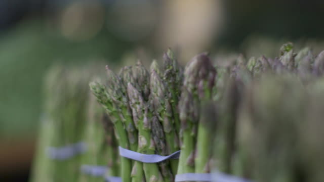 open market - bundled asparagus - asparagus stock videos & royalty-free footage
