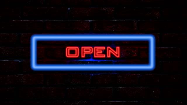 Öppet neonskylt