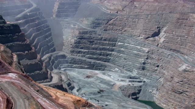 open pit mine - super pit gold mine in kalgoorlie boulder in western australia - open cast mine stock videos & royalty-free footage