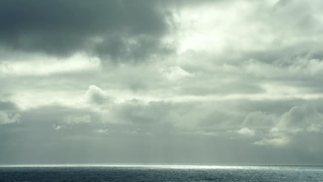 open sea under an overcast sky - stimmungsvoller himmel stock-videos und b-roll-filmmaterial