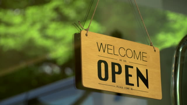 open sign at the cafe door - store opening stock videos & royalty-free footage