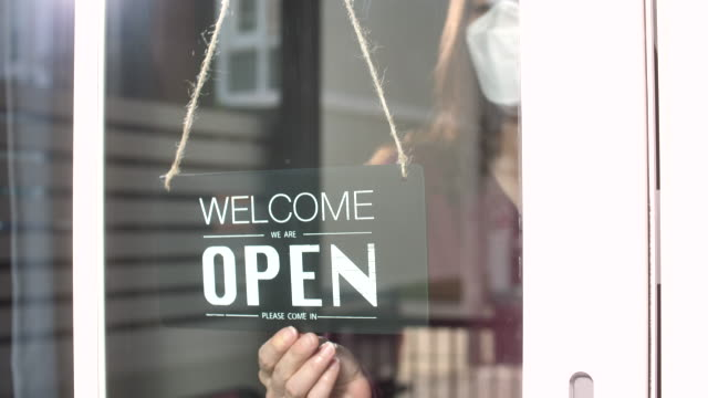 open sign, business owner opening after quarantine - open stock videos & royalty-free footage