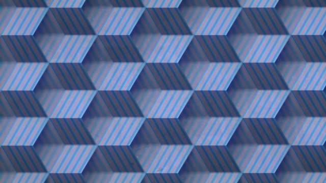 ストライプボックス無限の動きを開きます。被写界深度。3d レンダリングシームレス ループ アニメーション。4k、ウルトラhd解像度 - 投影図点の映像素材/bロール