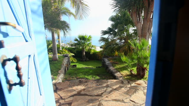 Öffnen Sie die Tür. Palmen in einem Garten.