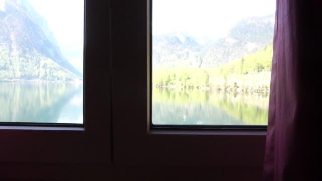 Open the window to Hallstatter see lake at Hallstatt ,Austria
