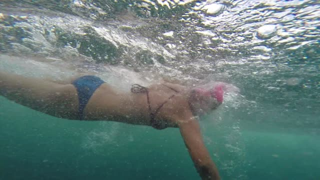open water swimming in waimea bay hawaii two shots one under water and one over and under water - salmini stock videos and b-roll footage