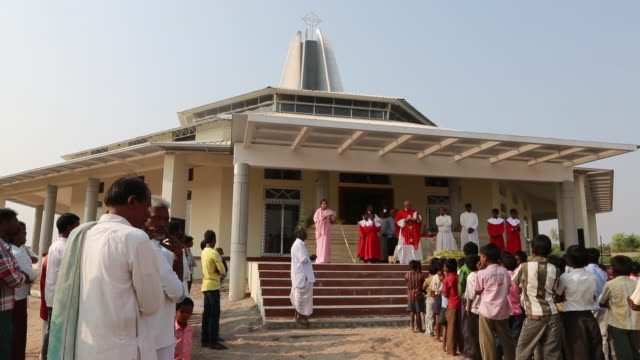open-air sermon outside a church on palm sunday near pannur, india - preacher stock videos and b-roll footage