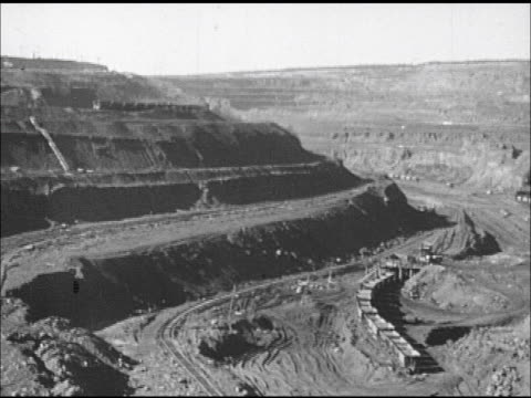 opencut mining operation w/ open train cars on upper level ha ws hillside layers of opencut mine w/ locomotive pushing cars environmental impact... - surface mine stock videos and b-roll footage