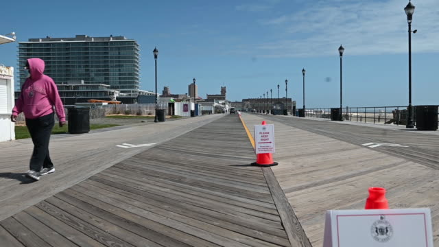 opened beaches and boardwalk for memorial day weekend in asbury park, nj, u.s. on friday, may 22, 2020. poor weather, on top of fears of crowds, led... - new jersey stock videos & royalty-free footage