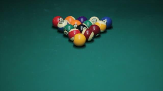 opening break in slow motion - pool table stock videos & royalty-free footage