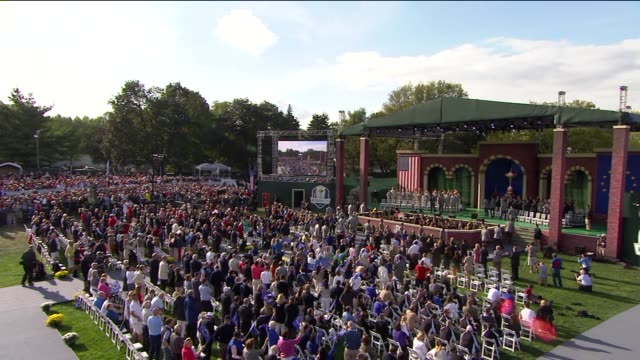 wgn opening ceremonies at the ryder cup on september 28 2012 in medinah illinois - 開会式点の映像素材/bロール
