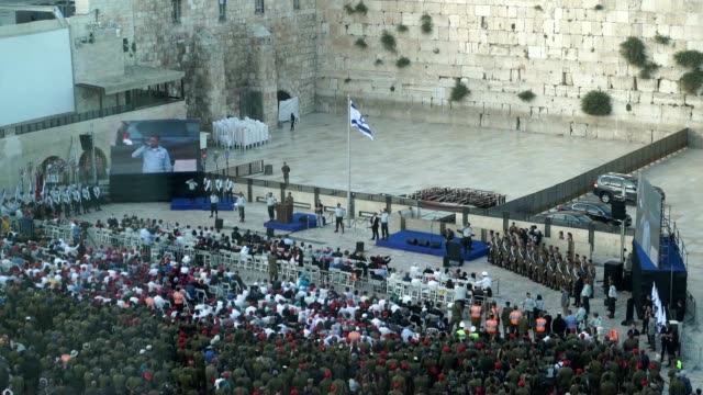 vidéos et rushes de opening ceremony commemorating the 50th anniversary of the six day war resulting in unification of the city after the jordanian annexation rabbi's... - guerre des 6 jours