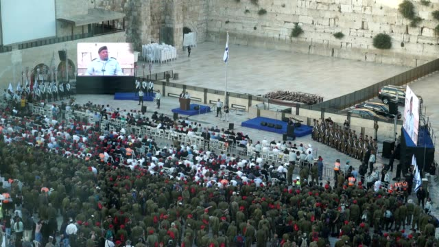 opening ceremony commemorating the 50th anniversary of the six day war with a speech by the chief of staff of the israel defense force gadi eizenkot. - gerusalemme est video stock e b–roll