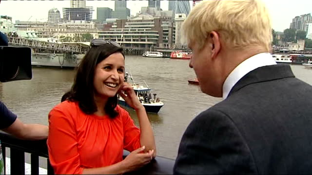 opening ceremony england london tower bridge ext boris johnson interview sot privileged to be here torch will go down river to what used to be an... - mayor stock videos and b-roll footage