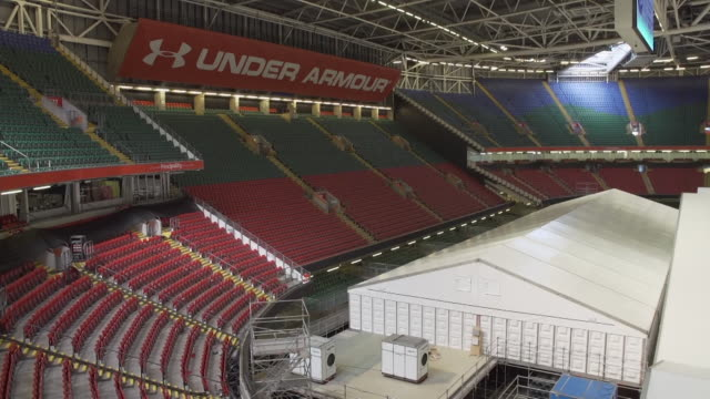 opening ceremony for cardiff's coronavirus temporary field hospital, the dragon's heart hospital, at the principality stadium - tent stock videos & royalty-free footage