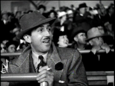 no audio / opening day of hollywood park racetrack / attended by movie stars and executives / footage of the spectators including walt disney a share... - disney stock videos and b-roll footage
