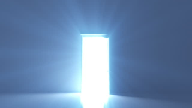 opening door with bright light shining through - opportunity stock videos & royalty-free footage