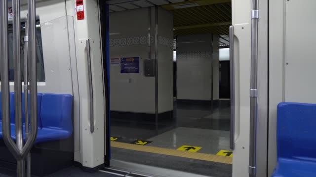 opening doors passenger of subway stop at station. - passenger train stock videos & royalty-free footage