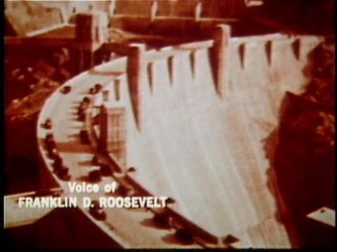 vídeos de stock, filmes e b-roll de 1936 montage opening of hoover dam, voice of franklin roosevelt, colorado river, usa, audio - represa hoover