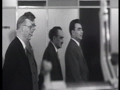opening of industrial exhibition munich cutting ribbon brezhnev mikoyan suslov munich visiting exhibition of socialist hungarian realizations... - eastern european culture stock videos and b-roll footage