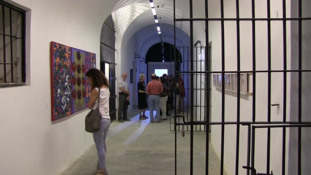 opening of the 3rd jerusalem biennale for contemporary jewish art in a building that served as the central prison of the british mandatory... - eddie gerald stock videos & royalty-free footage