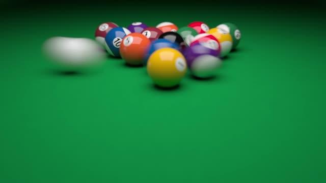 3 種類の角度からのプールのゲームのオープニング ショット - ビリヤード点の映像素材/bロール