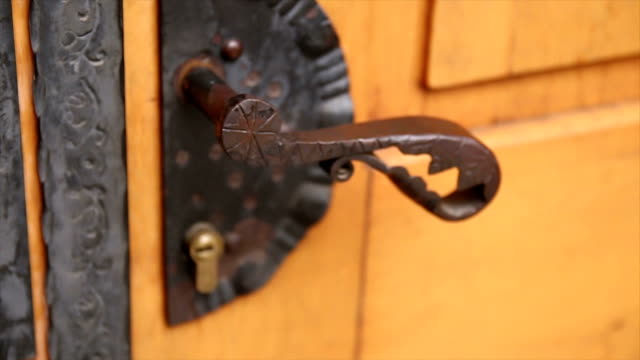 opening the antique door - door knocker stock videos & royalty-free footage
