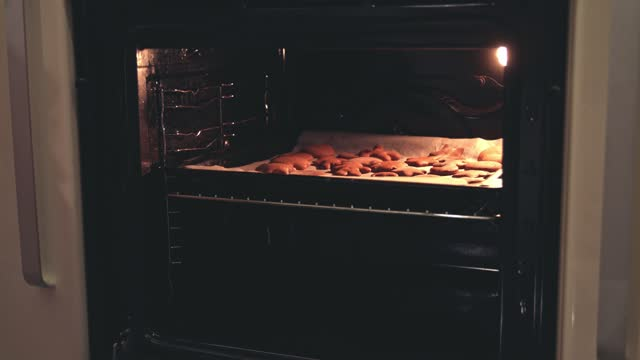 opening the oven to take out the gingerbread cookies - baking tray stock videos & royalty-free footage