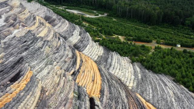 vídeos y material grabado en eventos de stock de open-pit coal mine at the edge of a forest filmed by drone, germany - huella de carbono