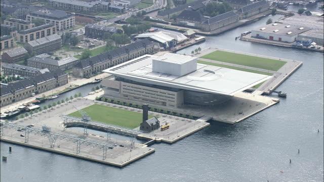opera house - aerial view - capital region, copenhagen municipality, denmark - capital region stock videos and b-roll footage
