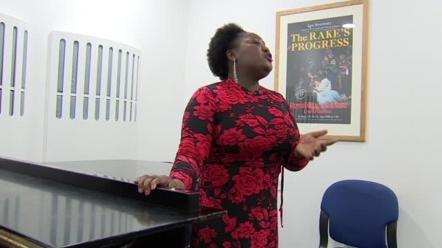 jessye norman dies aged 74; england: int various shots of cecilia rangwanasha singing sot cecilia rangwanasha interview sot - opera stock videos & royalty-free footage