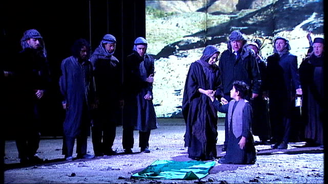 the death of klinghoffer terrorism debate england london coliseum int english national opera cast performing scene from opera the death of... - london coliseum stock videos and b-roll footage