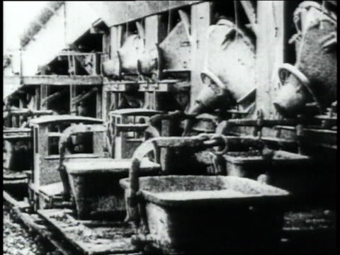 montage operating cranes and other machinery and transporting materials on train tracks while excavating the panama canal / republic of panama - anno 1906 video stock e b–roll
