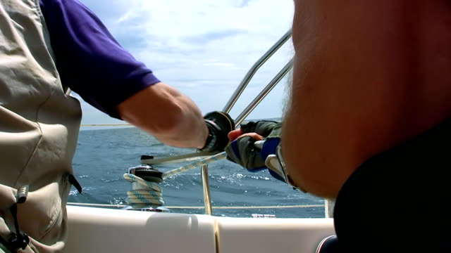HD: Operating Sail Winch On A Yacht