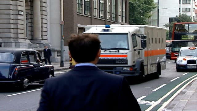 Omar Khyam tells court he was happy about 9/11 ENGLAND London Old Bailey EXT Prison van carrying Omar Khyam arriving at court Back View Prison van...