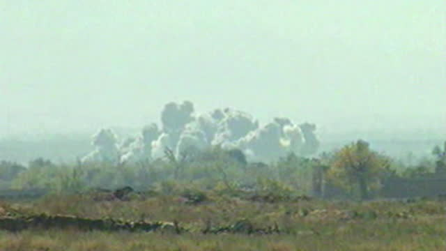 operation enduring freedom - clouds of smoke from bombs dropped by us b52 bombers on the taliban front line north of kabul in war on terror - operation enduring freedom stock videos & royalty-free footage