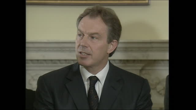 operation enduring freedom - tony blair, uk pm, announces that the uk will join the usa in going to war against osama bin laden and al qaeda in... - operation enduring freedom stock videos & royalty-free footage