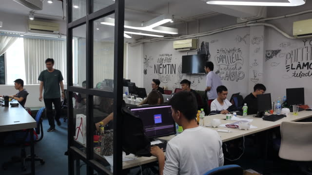 operations at a yeah1 group studio in ho chi minh vietnam on monday march 4 2019 yeah1 operates multichannel media networks serving customers in asia... - using computer stock videos & royalty-free footage
