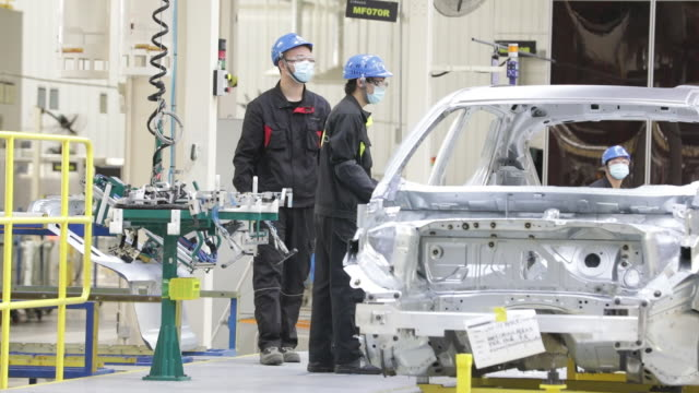 operations at the geely link & co automobile factory in ningbo, china on tuesday, april 28, 2020. - safety stock videos & royalty-free footage