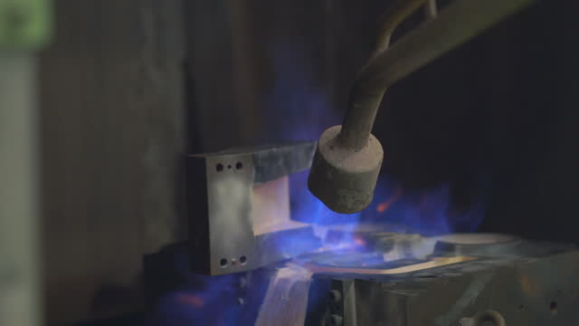 operator prepare the mould before production, preheat mold with burner flame, coating surface mold, grinding mold, work hard in foundry factory - furnace stock videos & royalty-free footage