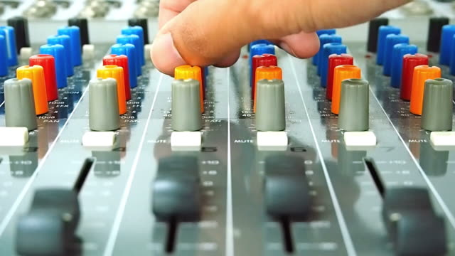 operator's work for mixing desk - knob stock videos and b-roll footage