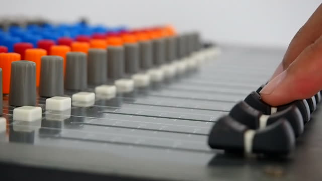 operator's work for mixing desk - stereo stock videos and b-roll footage