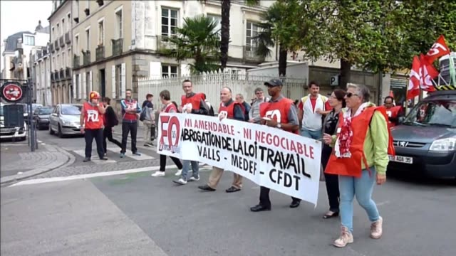 opponents of france's controversial labour reforms took to the streets thursday for the 14th time in six months in a last ditch bid to quash the... - rennes stock videos & royalty-free footage