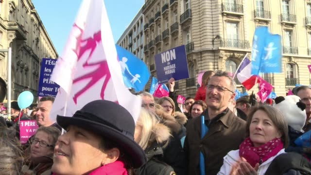 Opponents to gay marriage and adoption protested around France on Saturday even though the National Assembly voted overwhelmingly in favour of a key...