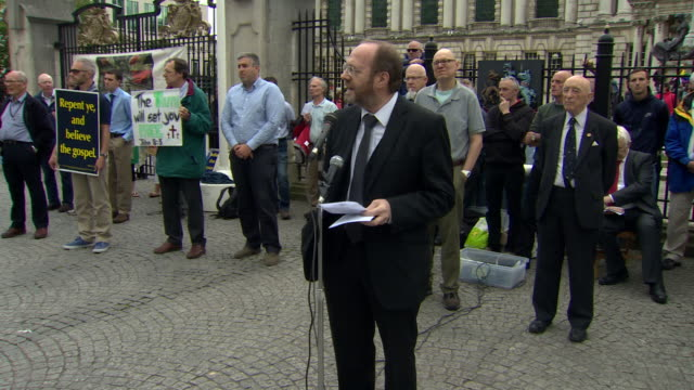 Opponents to samesex marriage holding a demonstration in Belfast