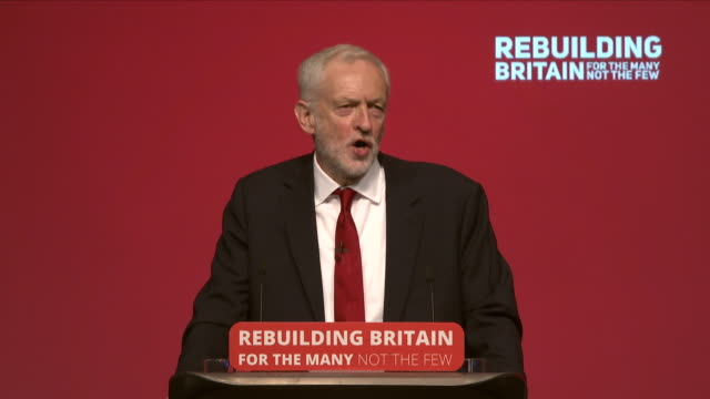 k opposition labour party annual conference showing interior shots jeremy corbyn leader of the uk opposition labour party delivers his keynote speech... - last day stock videos & royalty-free footage